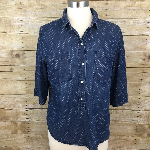 46c9942b Tommy Hilfiger Tops | Chambray Pin Dot Shirt Large | Poshmark